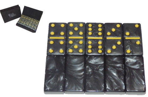 Black/Old Gold Marbleized, Tournament-Size, Dbl 6 Domino Set