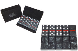 Black/White/Crimson Marbleized, Tournament-Size, Dbl 6 Domino Set *SOLD OUT*