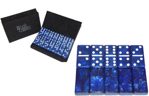 Blue/White Marbleized, Tournament-Size, Dbl 6 Domino Set *SOLD OUT*