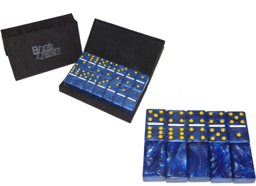 Blue/Gold/White Marbleized, Tournament-Size, Dbl 6 Domino Set *SOLD OUT*