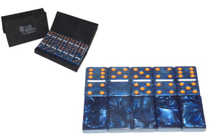 Blue/Orange/White Marbleized, Tournament-Size, Dbl 6 Domino Set