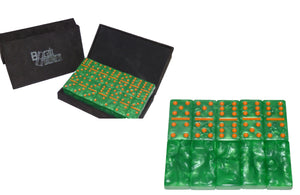 Green/Orange Marbleized, Tournament-Size, Dbl 6 Domino Set
