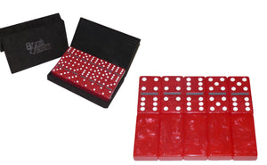 Crimson/White/Gray Marbleized, Tournament-Size, Dbl 6 Domino Set