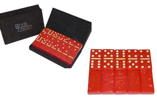 Crimson/Cream Marbleized, Tournament-Size, Dbl 6 Domino Set