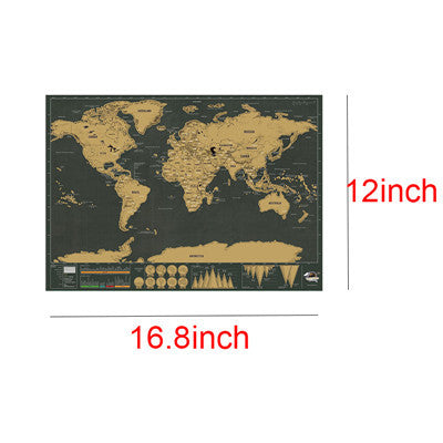 Mini Black Deluxe Travel Scrape World Map Poster Traveler Vacation Log Gift Personalized Travel Vacation Map 82.5 x 59.5 cm, , My Fantasy Co, Queen JourneyA