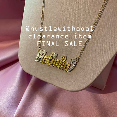 """Aaliaha"" NAMEPLATE NECKLACE (CLEARANCE - FINAL SALE)"