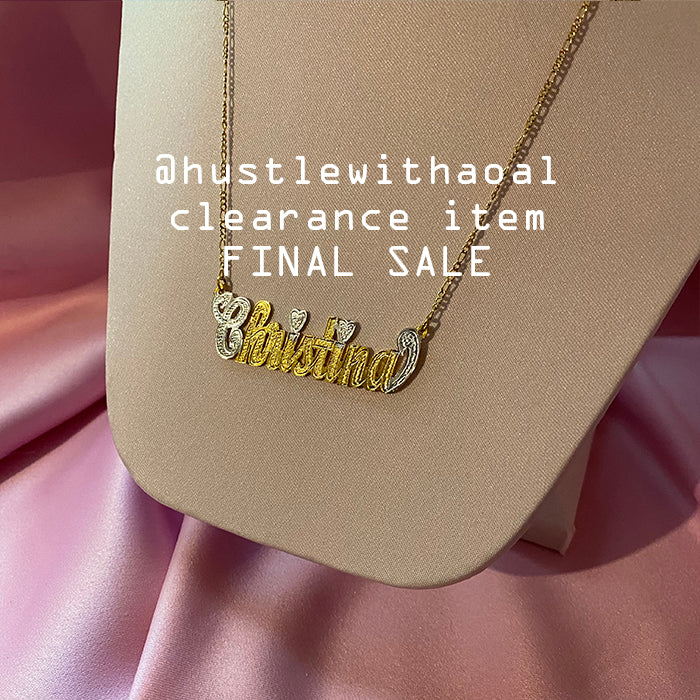 """Christina"" NAMEPLATE NECKLACE (CLEARANCE - FINAL SALE)"