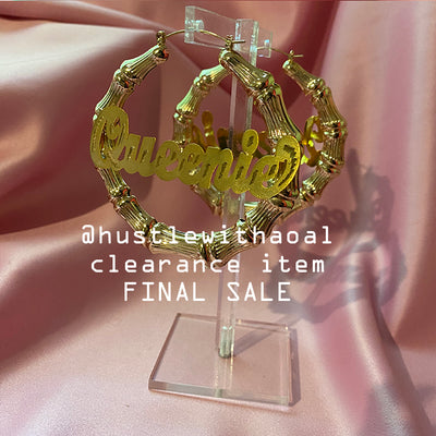 """Queenie"" HONEY BAMBOO EARRINGS 3""  (CLEARANCE - FINAL SALE)"