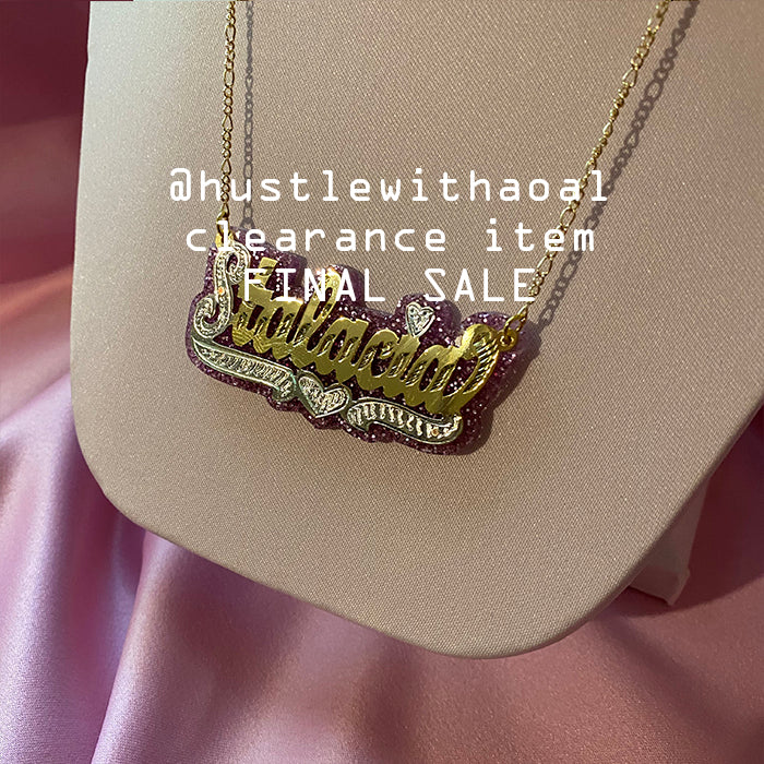 """Stalacia"" NAMEPLATE NECKLACE (CLEARANCE - FINAL SALE)"