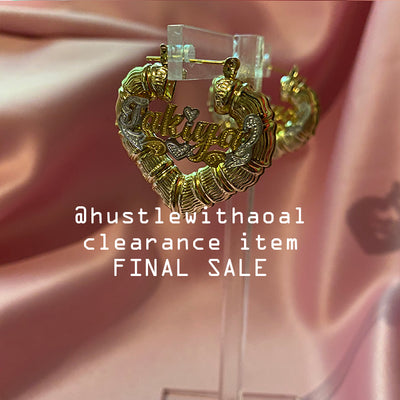 """Takiyah"" BABYGIRL BAMBOO EARRINGS 1.2"" (CLEARANCE - FINAL SALE)"