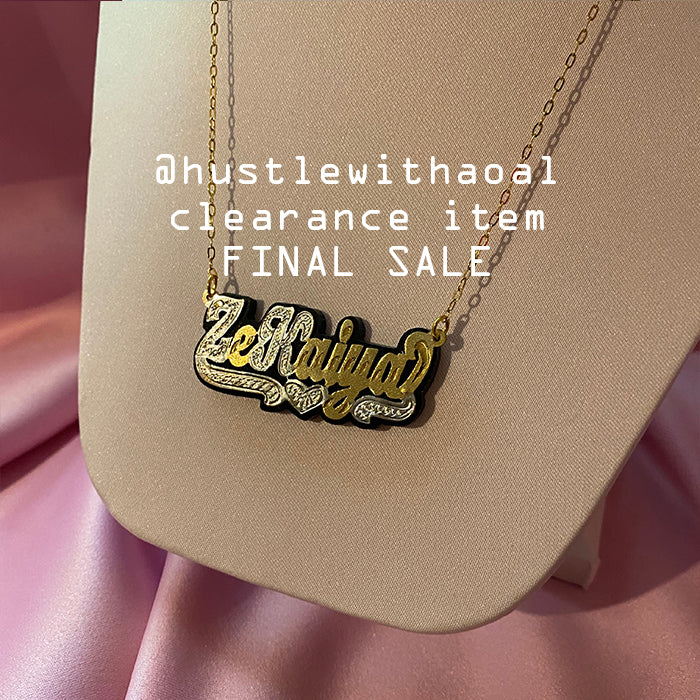 """Zekaiya"" NAMEPLATE NECKLACE (CLEARANCE - FINAL SALE)"