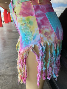 Rainbow Denim Fray Shorts