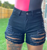 Distressed Cut Out Denim Shorts
