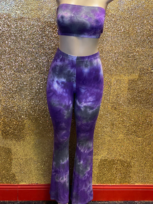 Purple Tie Dye Pants Set