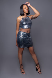 Black & Silver Shimmery Skirt Set