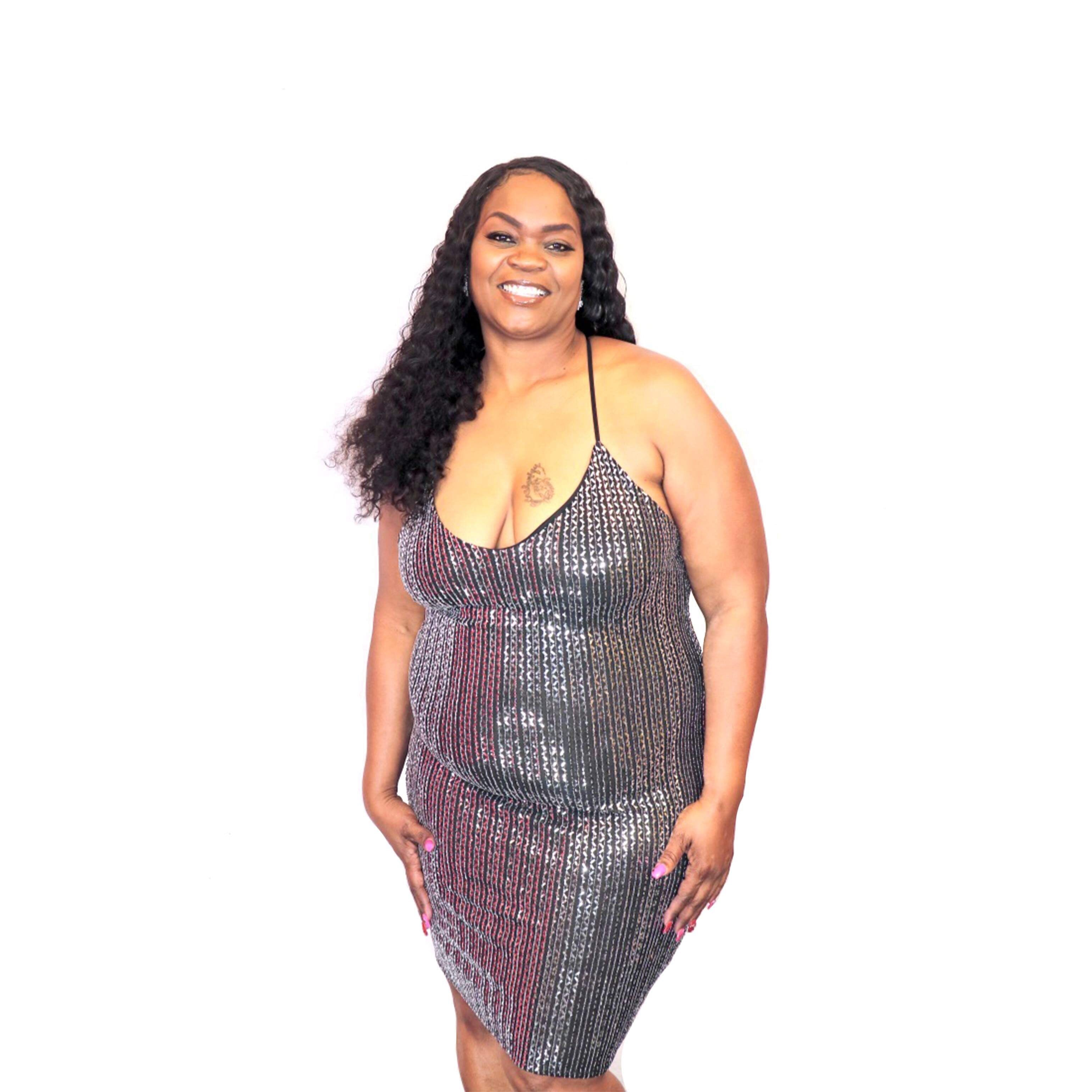Curvy Black and Silver Sequin Dress