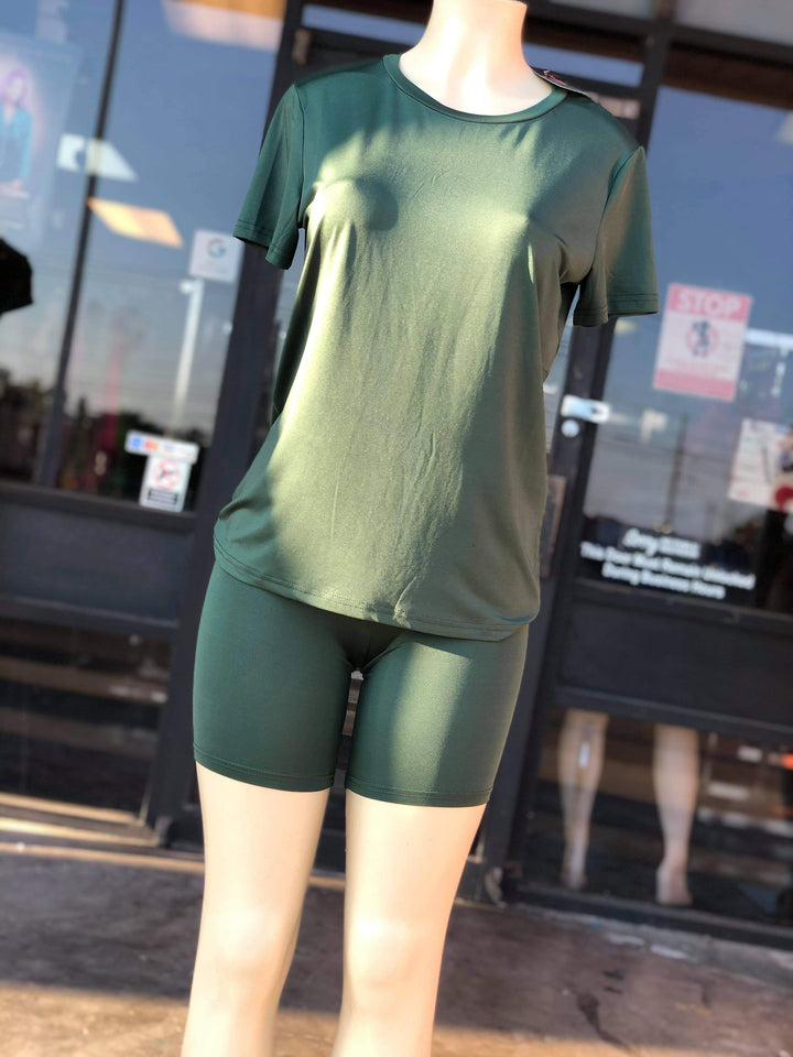 Olive Top & Biker Shorts Set