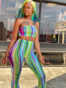 Multi Color Striped Pants Set