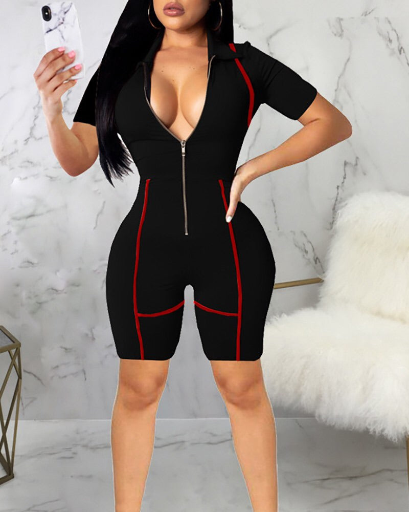 Plus Size Black and Red Romper