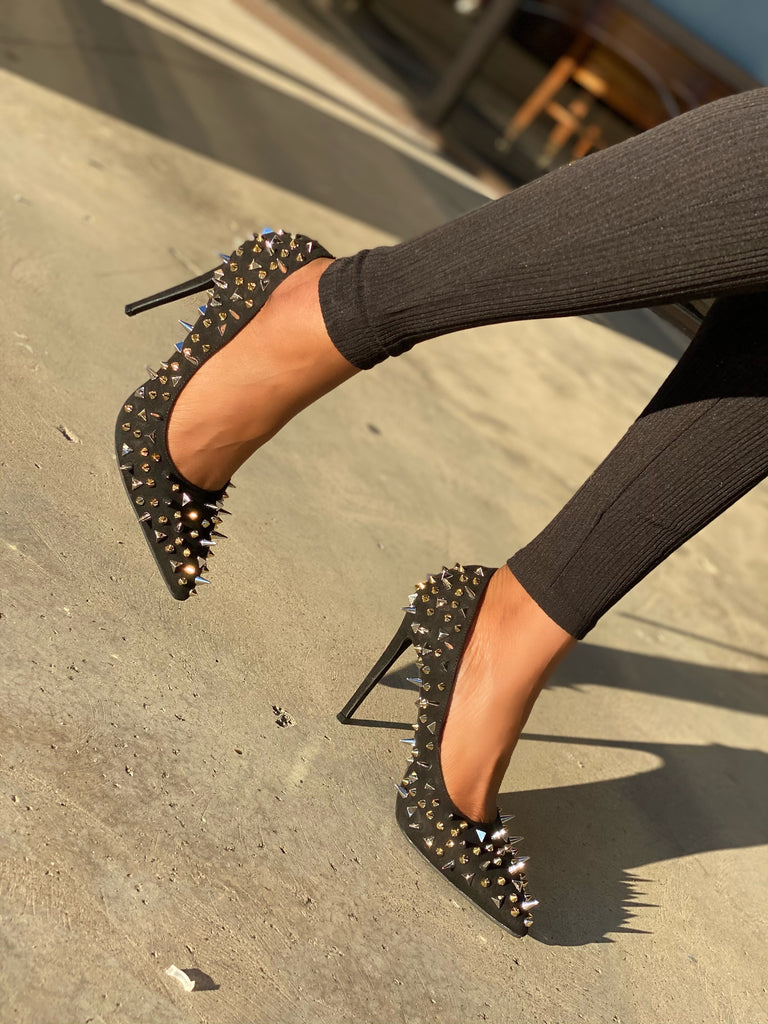 Black Pointy Toe Spike Heels