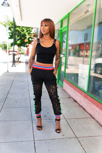 Black Lace Gator Pants