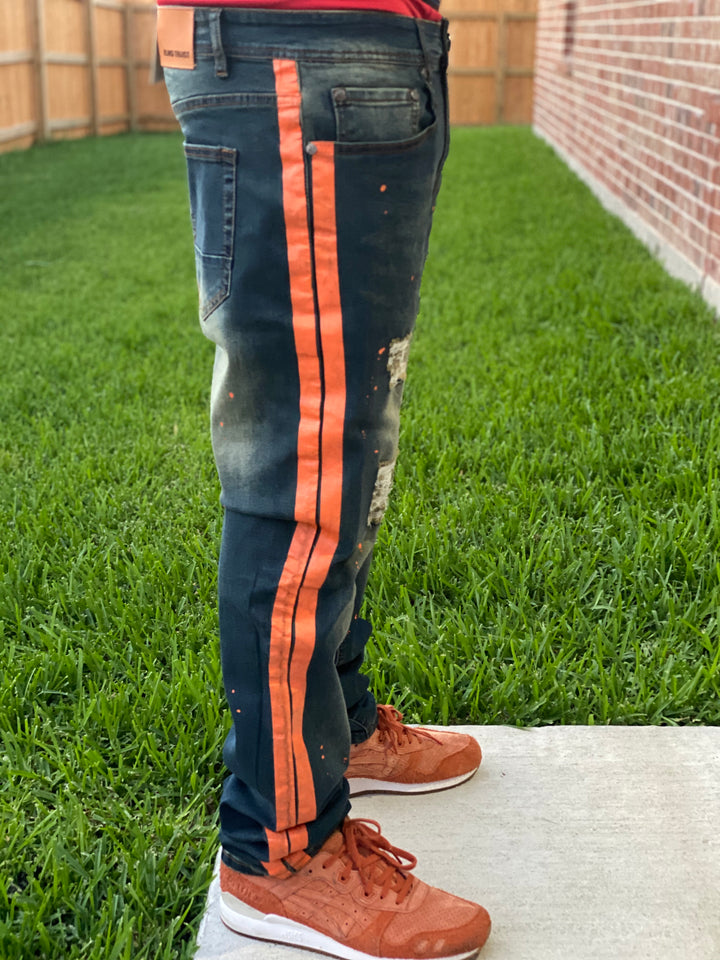 Orange Striped Denim Jeans