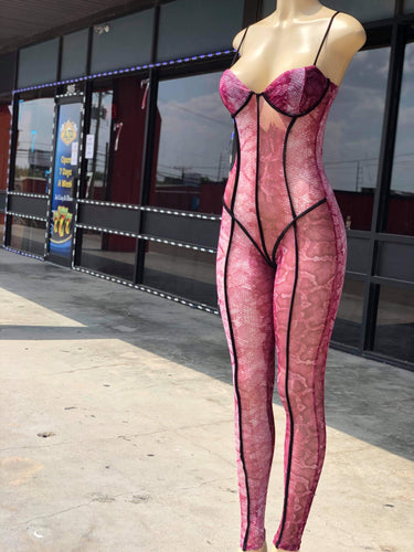 """You Got It"" Pink Mesh Jumpsuit"
