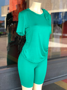 Green Biker Shorts Set W/ Mask