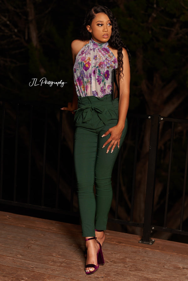 Green High Waist Pants w/ Self Tie Belt