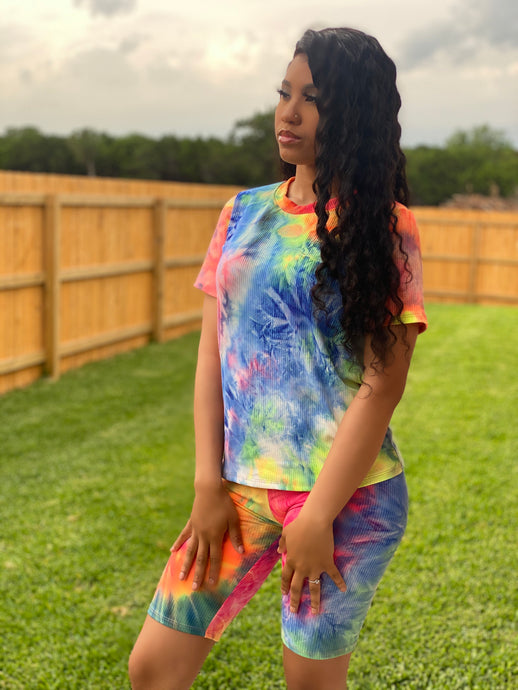 Fun in the Sun Tie Dye Biker Set