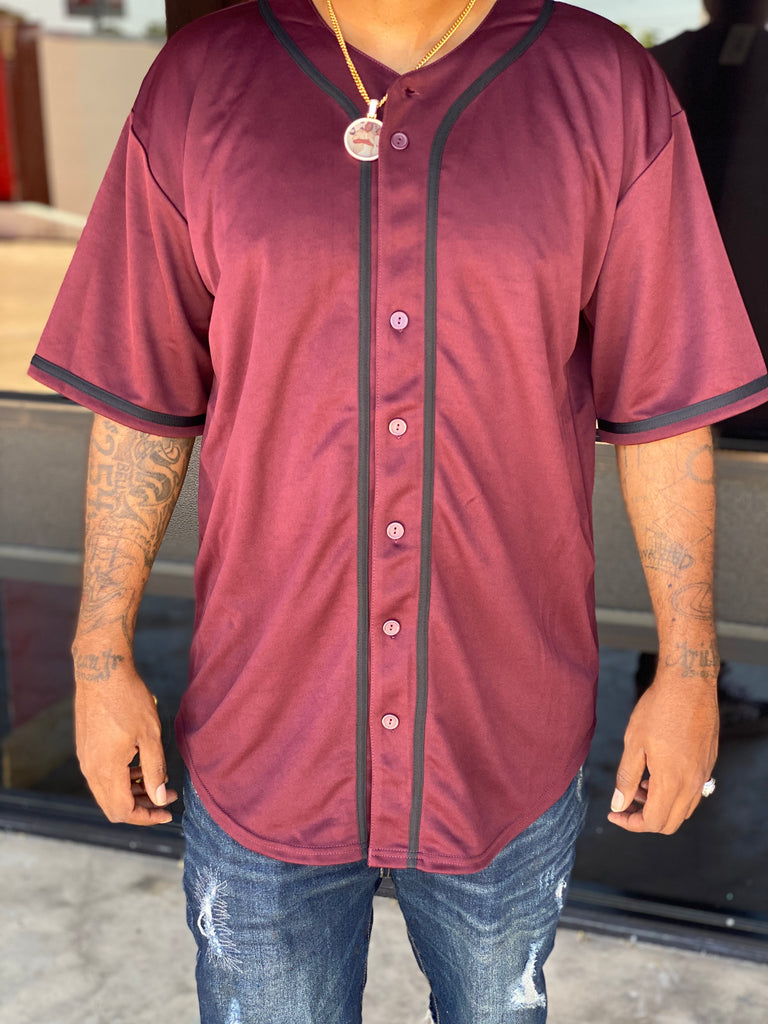 Burgundy Baseball Jersey T Shirt