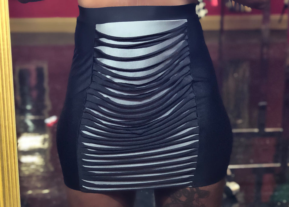 Black and Gray Cut Up Skirt