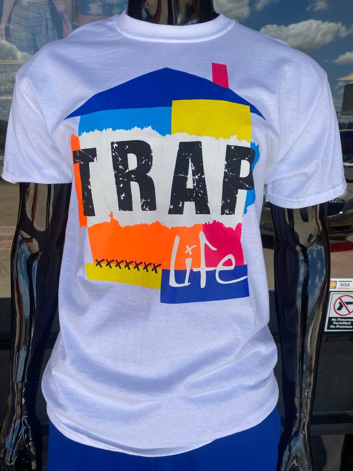"White ""Trap Life"" Graphic Shirt"