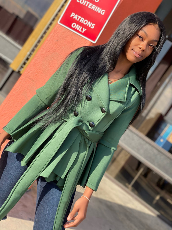 All About the Business Green Peplum Jacket