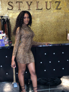 Turtleneck Cheetah Print Dress
