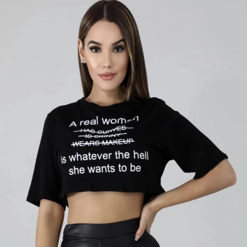 Real Women Black Crop Top