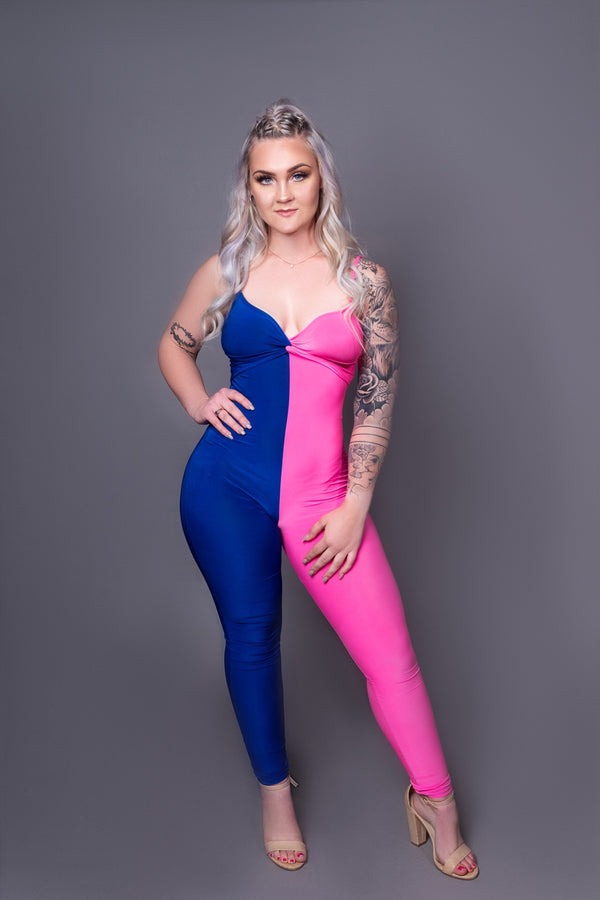 Pink & Blue Two Toned Jumpsuit
