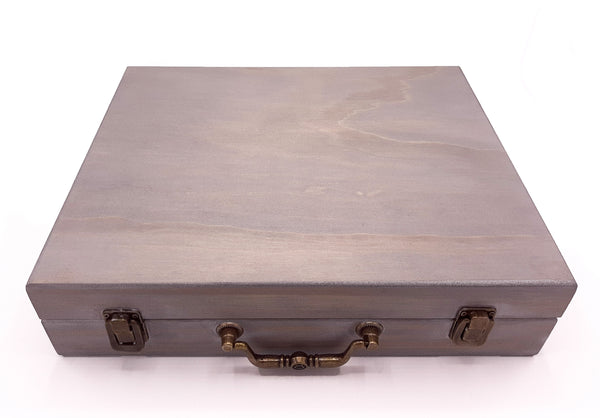 Large Misty Grey Painted Essential Oils Box