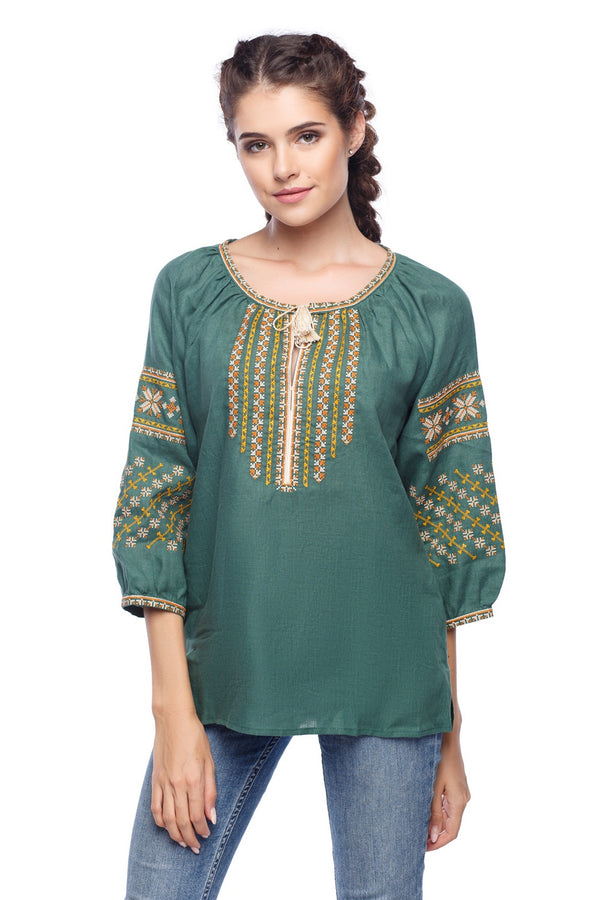 Emerald Embroidered Linen Blouse