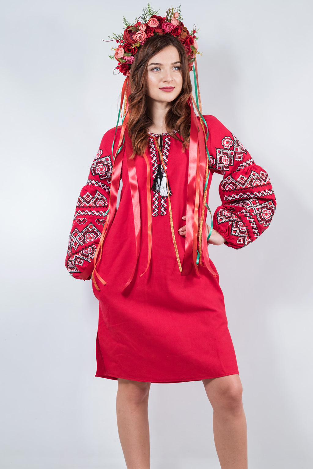 Cherry-Red Embroidered Linen Dress