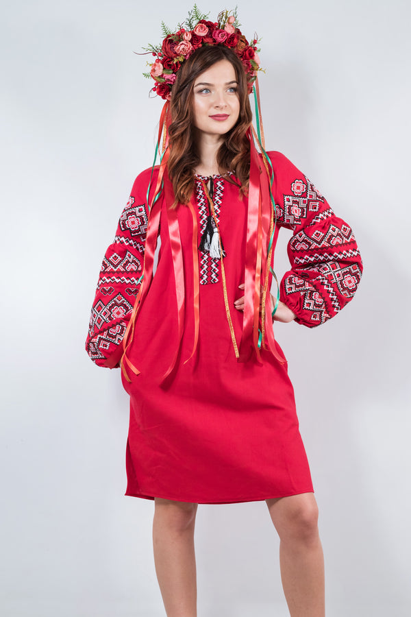 "Embroidered Linen Dress ""Cherry"""