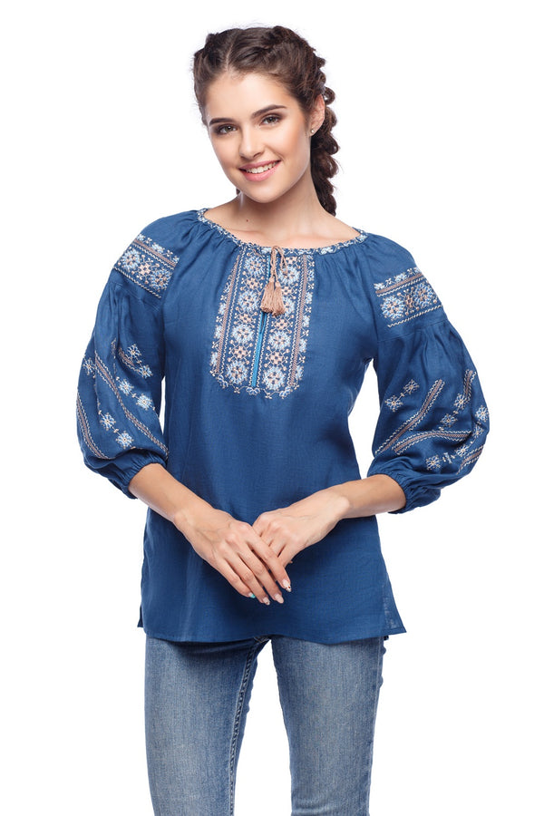 Blue Embroidered Linen Blouse