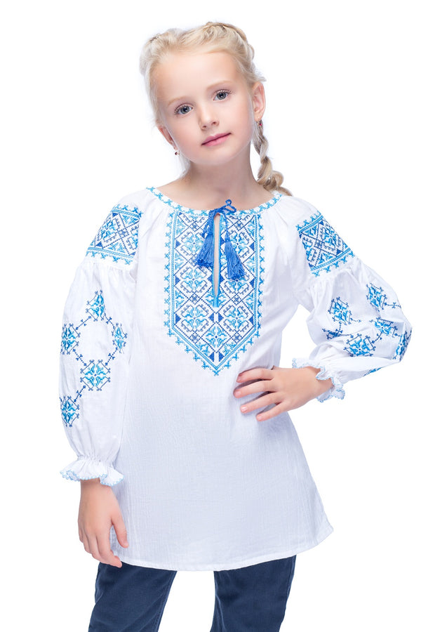 Girl's Blue Vyshyvanka
