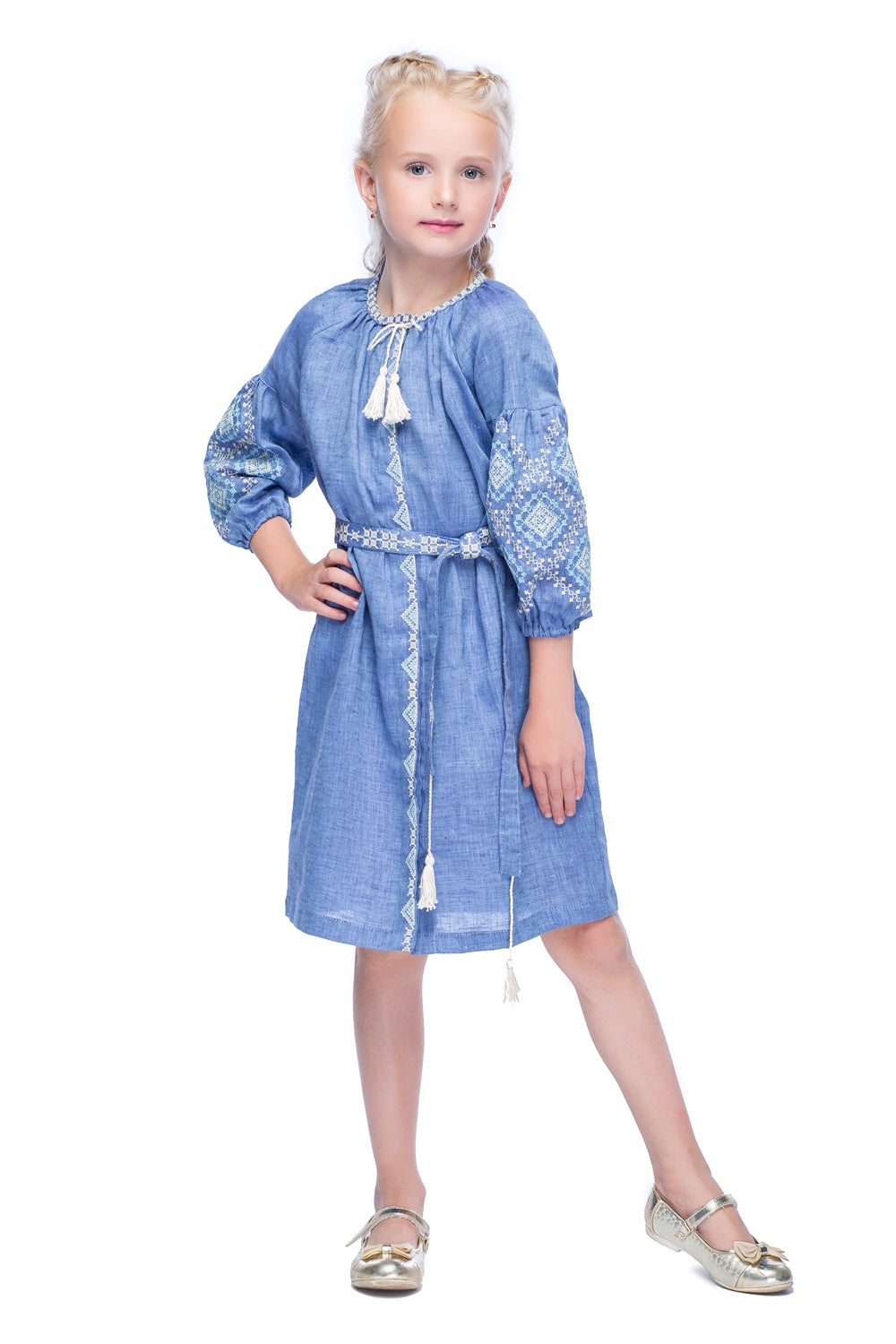 Girl's Blue Embroidered Dress