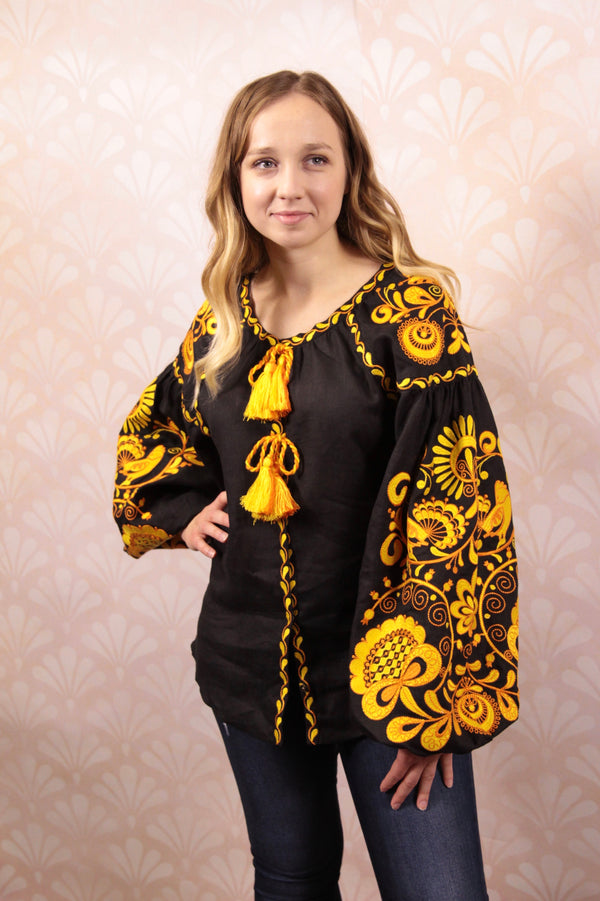 "Embroidered Blouse ""Golden Bloom"""