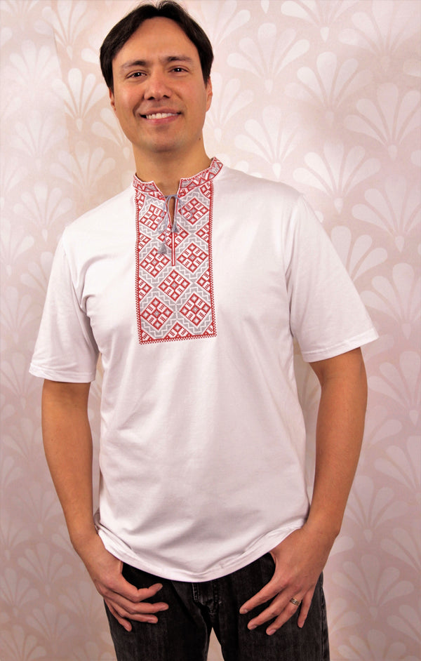 Kozak T-Shirt - White and Red Embroidery