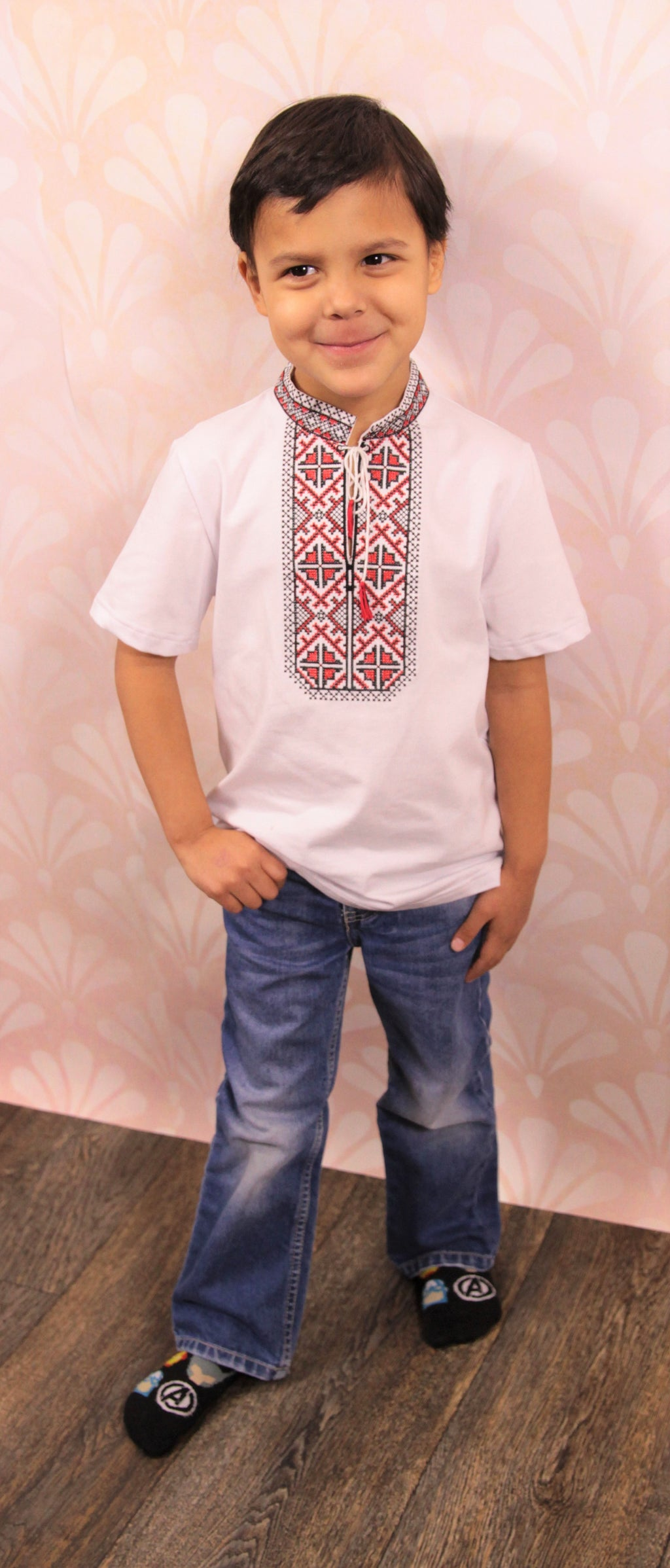 """Traditional"" T-Shirt for Boys with Red and Black Embroidery"
