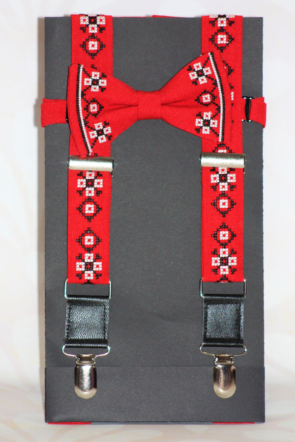 Men's Embroidered Bowtie and Suspenders Combo - Various Colours