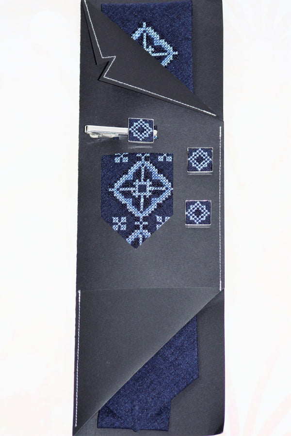 Blue Embroidered Necktie Set with Clip and Cuffs