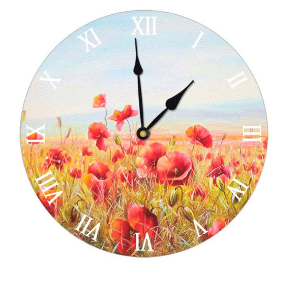 "Wall Clock ""Field of Poppies"""